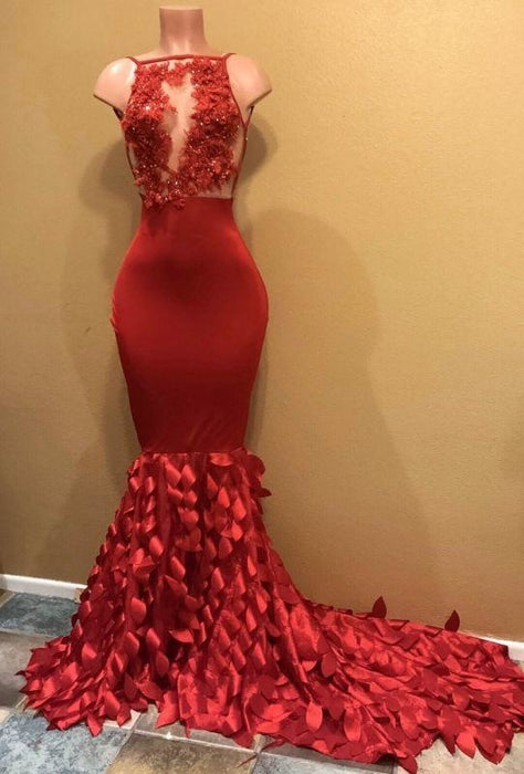 B| Bridelily Gorgeous Sleeveless Appliques Long Mermaid Prom Dresses - Prom Dresses