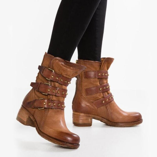 B| BrideLily Leather-Trimmed Quilted Plain Boots - Boots