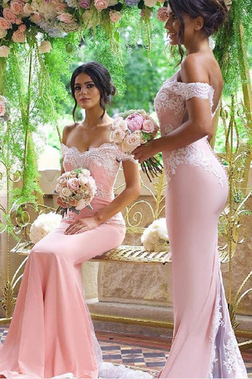 BA3419 Elegant Court Train Open Back Mermaid Pink Bridesmaid Dress - Bridesmaid Dresses