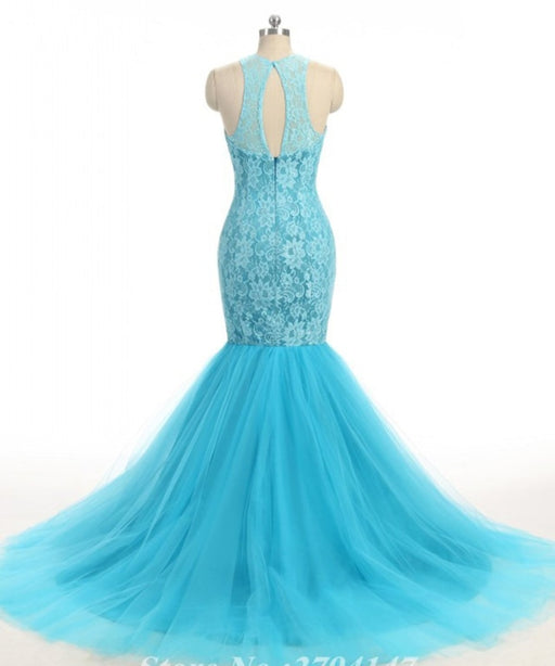 Baby Blue Lace O Neck Long Mermaid Prom Dress - Prom Dresses