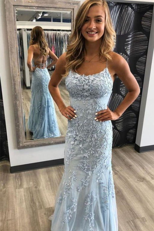 Spaghetti Strap Backless Light Sky Blue Mermaid Prom Dresses - Light Blue - Prom Dresses
