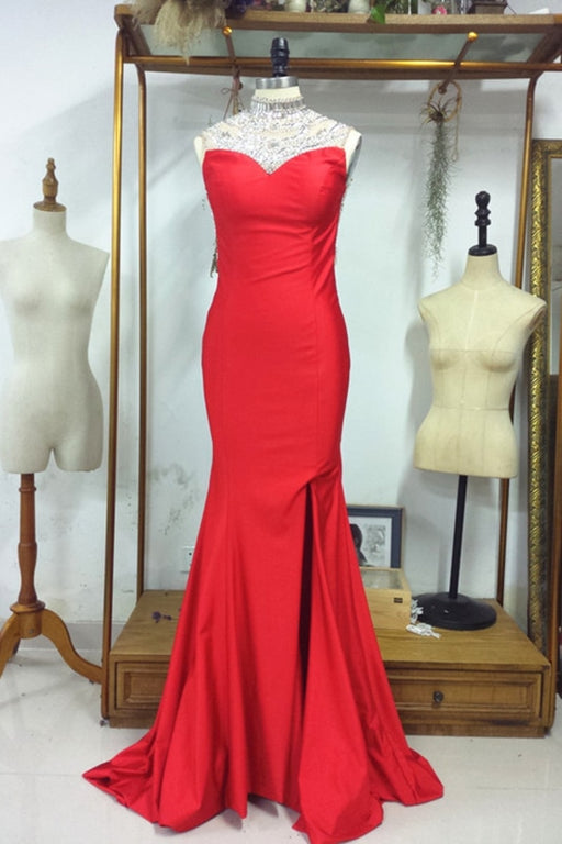 Backless Red with Crystals Sparkling Pageant Dresses Prom Dress - Prom Dresses