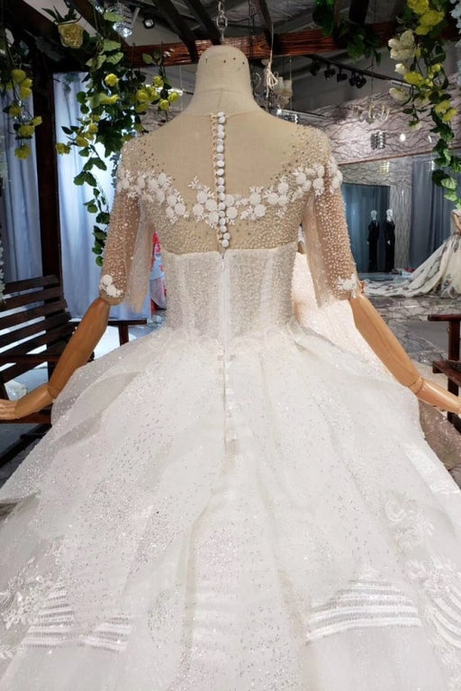 Ball Gown Half Sleeves Lace with Sequins Sheer Neck Long Wedding Dress - Wedding Dresses