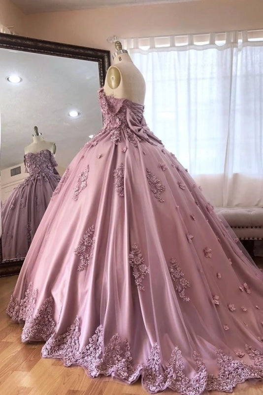 Ball Gown Off the Shoulder Tulle Quinceanera with Lace Appliques Puffy Prom Dress - Prom Dresses