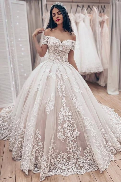Ball Gown Off the Shoulder with Lace Appliques Gorgeous Wedding Dress - Wedding Dresses