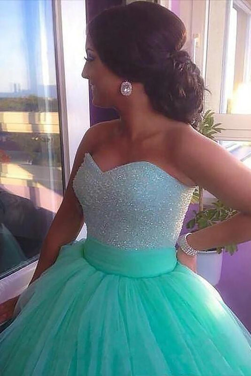 Ball Gown Sleeveless Sweetheart Tulle Brush Train Beading Plus Size Prom Dresses - Prom Dresses