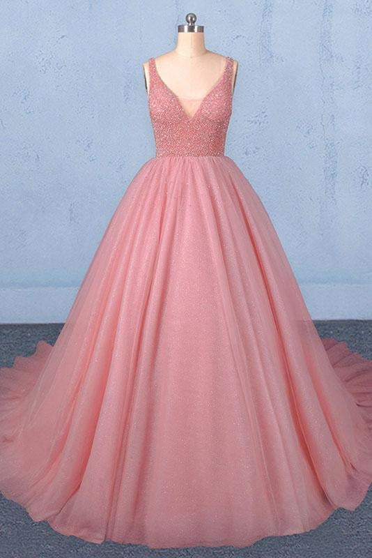 Ball Gown V Neck Tulle Prom Dress with Beads Puffy Sleeveless Quinceanera Dresses - Prom Dresses