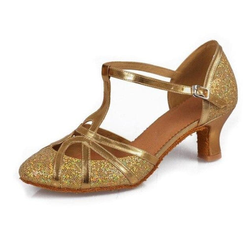 Ballroom Buckle Soft Sole Latin Dance Shoes | Bridelily - gold 5CM / 3.5 - jazz dance shoes
