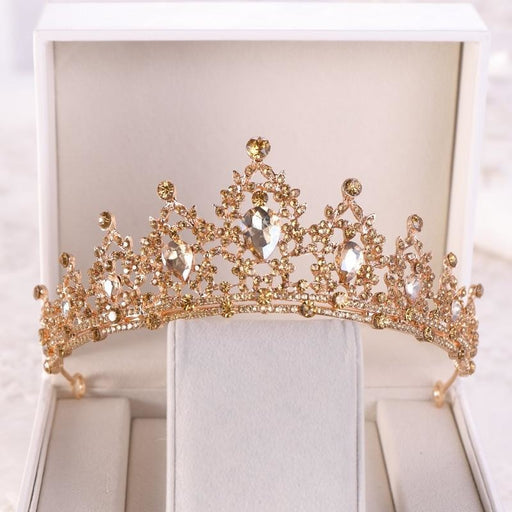 Baroque Gold Champagne Crystal Tiaras | Bridelily - Champagne - tiaras