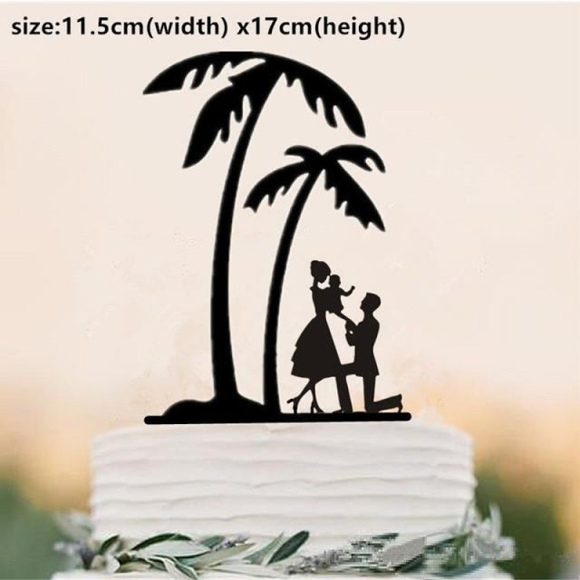 Beach Theme Family Style Wedding Cake Toppers | Bridelily - Mint Green - cake toppers