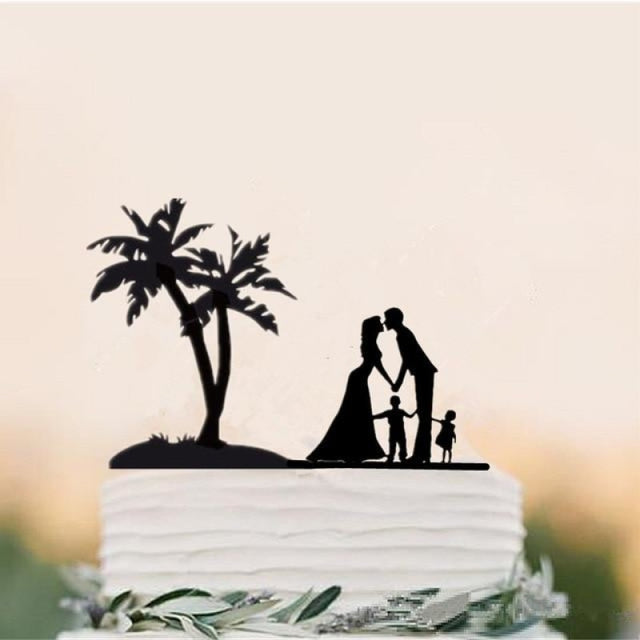 Beach Theme Family Style Wedding Cake Toppers | Bridelily - black - cake toppers
