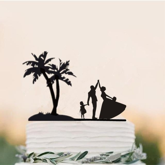 Beach Theme Family Style Wedding Cake Toppers | Bridelily - Light Green - cake toppers