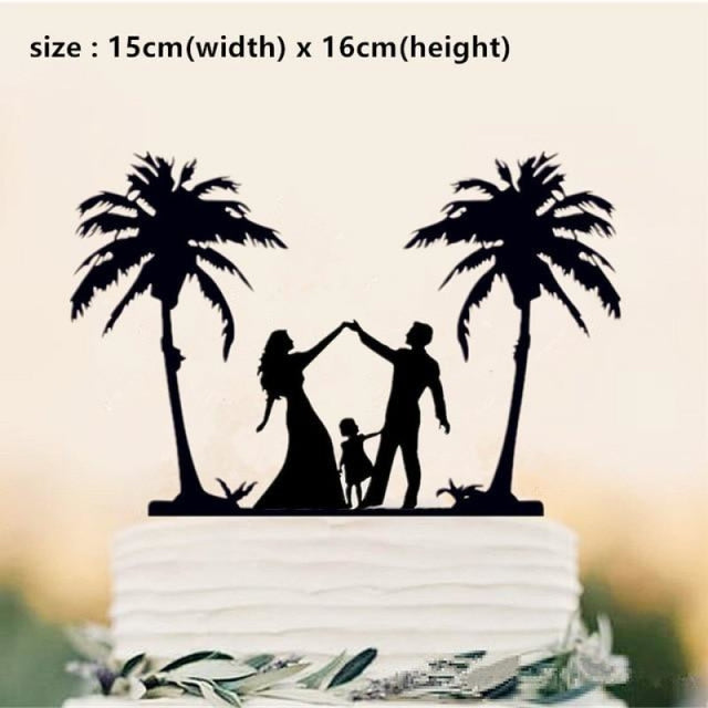 Beach Theme Family Style Wedding Cake Toppers | Bridelily - Light Grey - cake toppers