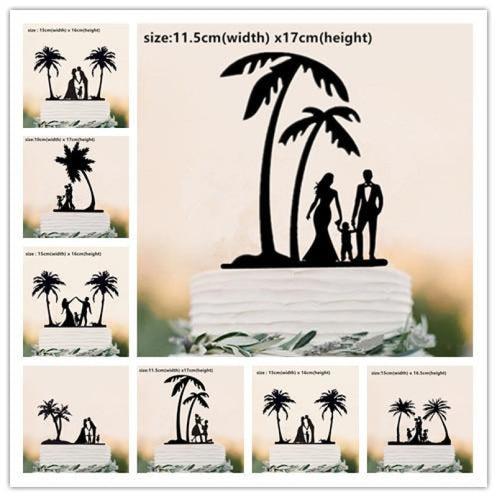 Beach Theme Family Style Wedding Cake Toppers | Bridelily - cake toppers