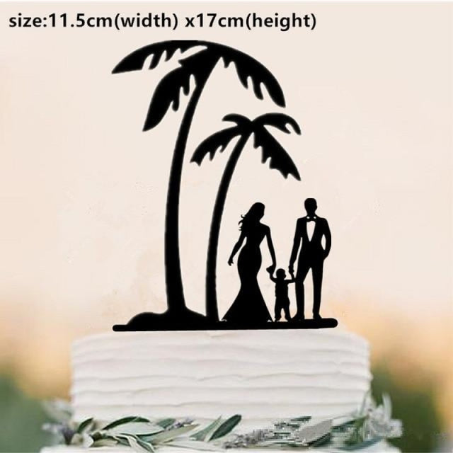 Beach Theme Family Style Wedding Cake Toppers | Bridelily - Light Yellow - cake toppers