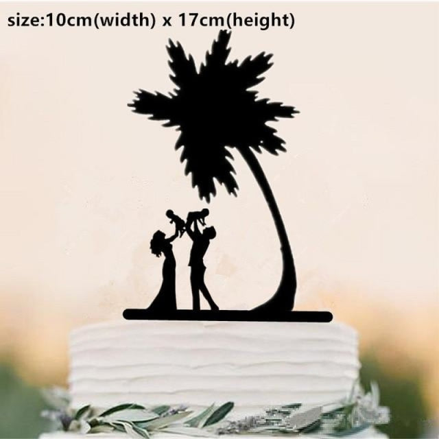 Beach Theme Family Style Wedding Cake Toppers | Bridelily - Fluorescence Yellow - cake toppers