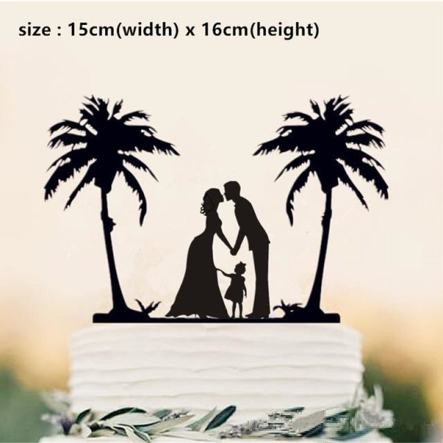 Beach Theme Family Style Wedding Cake Toppers | Bridelily - Olive - cake toppers