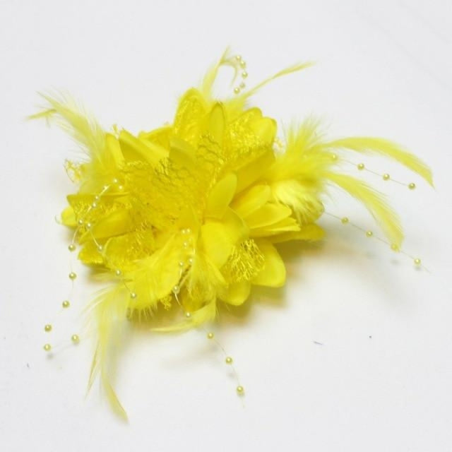 Bead Corsage Feather Flower Clips Fascinators | Bridelily - Yellow - fascinators