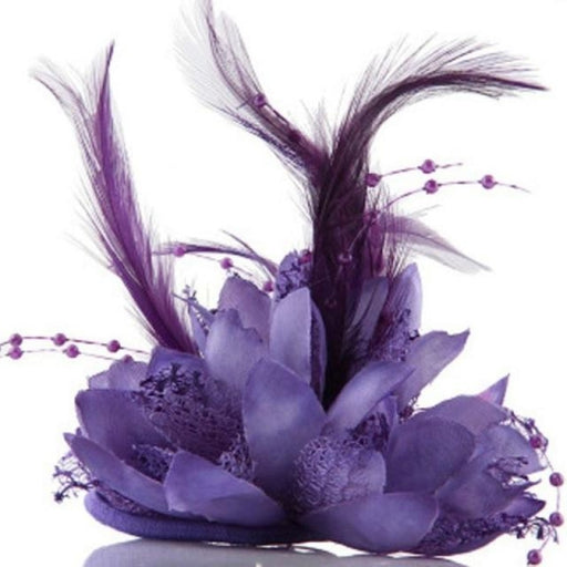 Bead Corsage Feather Flower Clips Fascinators | Bridelily - Purple - fascinators