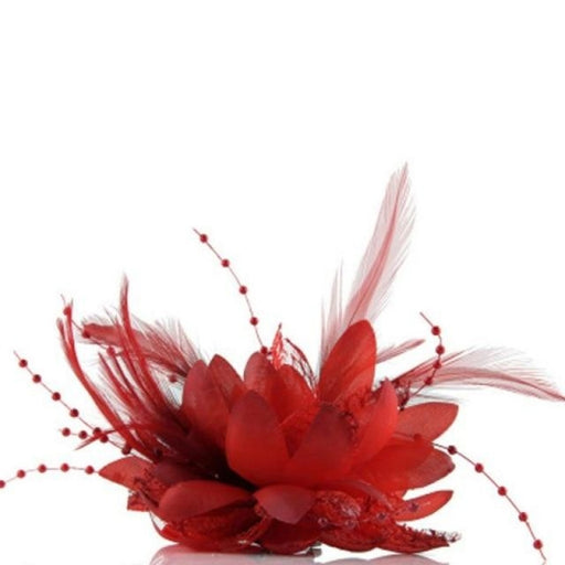 Bead Corsage Feather Flower Clips Fascinators | Bridelily - Red - fascinators