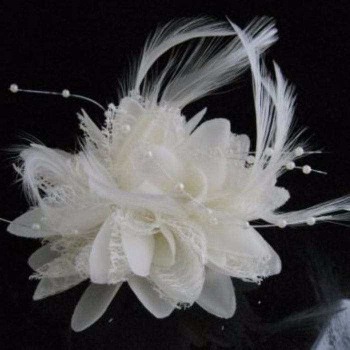 Bead Corsage Feather Flower Clips Fascinators | Bridelily - fascinators