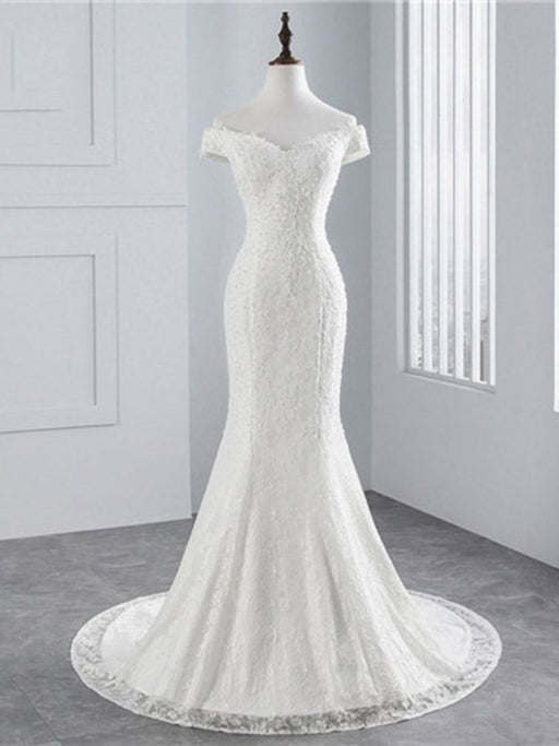 Beading Appliques Lace-up Mermaid Wedding Dresses - ivory / Floor Length - wedding dresses