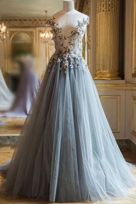 Beautiful Sheer Neck Long Tulle Prom Dress with Flowers A Line Cap Sleeves Party Dresses - Prom Dresses