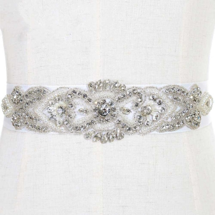 Beautiful Sparkly Rhinestone Wedding Sashes | Bridelily - White / One Size - wedding sashes