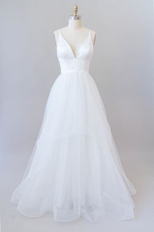 Beautiful V-neck Tulle A-line Wedding Dress - Wedding Dresses