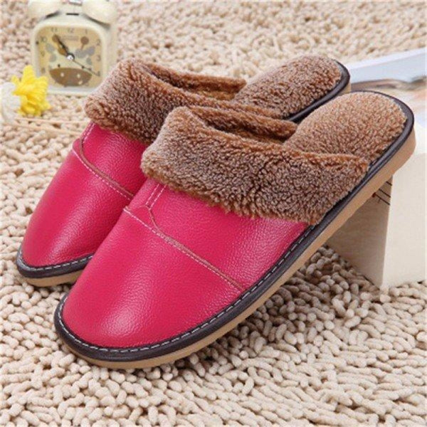 Big Size Pu Leather Open Heel Flat Indoor Home Casual Floor Slippers - Rose / US 5 - home shoes