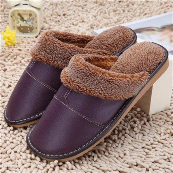 Big Size Pu Leather Open Heel Flat Indoor Home Casual Floor Slippers - Purple 2 / US 5 - home shoes