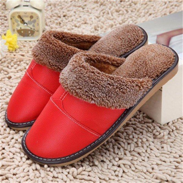 Big Size Pu Leather Open Heel Flat Indoor Home Casual Floor Slippers - Red / US 5 - home shoes