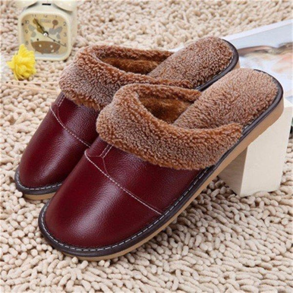 Big Size Pu Leather Open Heel Flat Indoor Home Casual Floor Slippers - Brown / US 5 - home shoes