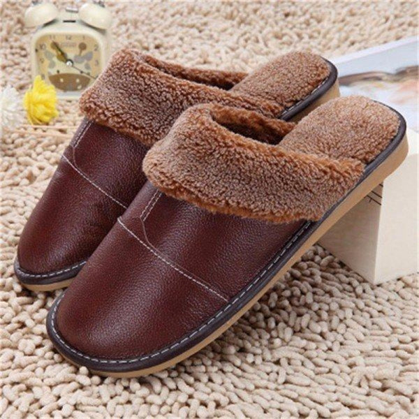 Big Size Pu Leather Open Heel Flat Indoor Home Casual Floor Slippers - Coffee / US 5 - home shoes