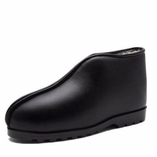 Big Size Waterproof Pu Leather Slip On Ankle High Top Flat Floor Home Indoor Shoes - home shoes