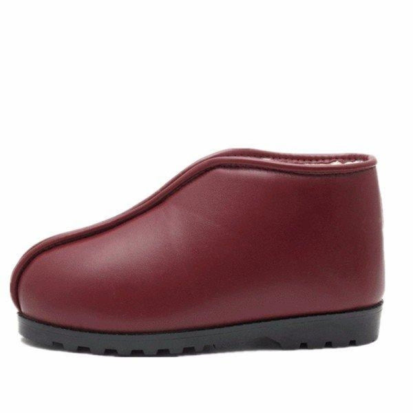 Big Size Waterproof Pu Leather Slip On Ankle High Top Flat Floor Home Indoor Shoes - Wine Red / US 5 - home shoes