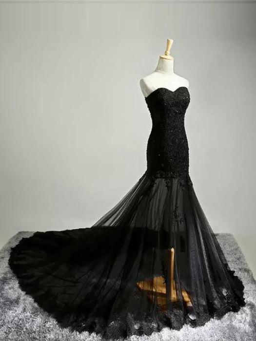 Black Lace Applique Wedding Dress Lace Up Bridal Gown - Black - wedding dresses