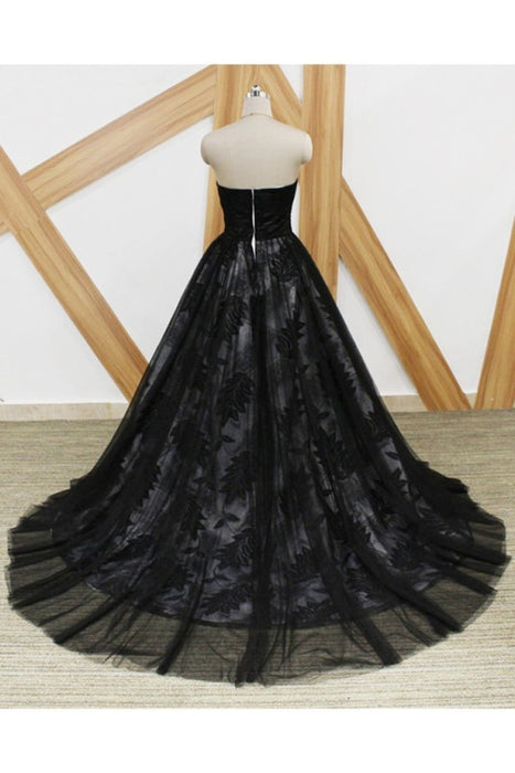 Black Lace Strapless Sweet 16 Prom Long Tulle Graduation Dress - Prom Dresses