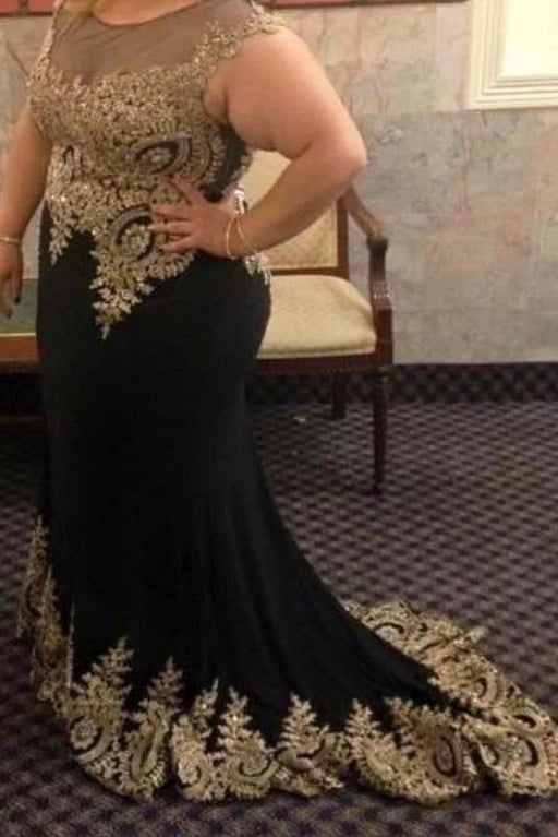 Black Mermaid Sleeveless with Lace Appliques Plus Size Prom Dress - Prom Dresses