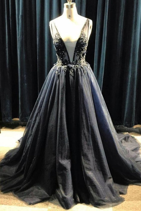Black Tulle Deep V Neck Long Beaded Prom with Appliques Puffy Formal Dress - Prom Dresses