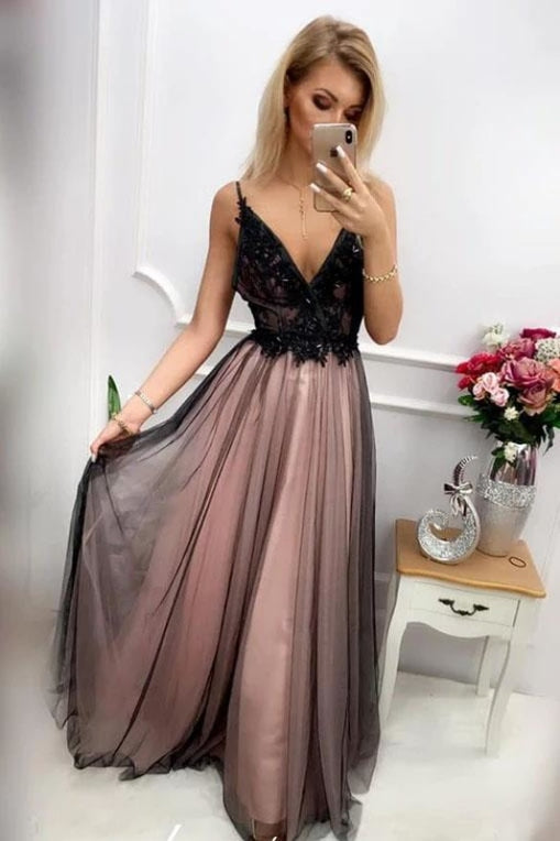 Black V Neck Tulle Long Prom with Appliques Floor Length Backless Formal Dress - Prom Dresses