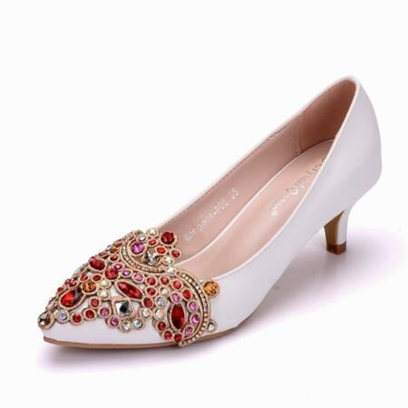 Bling Rhinestones Handmade Wedding Pumps | Bridelily - white / 34 - wedding pumps