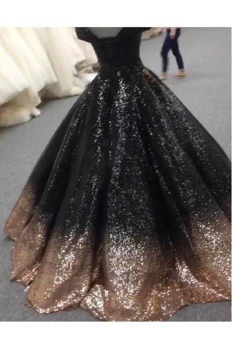 Bling Sequins Black Ball Prom Dresses Off Shoulder Formal Gown Masquerade - Prom Dresses