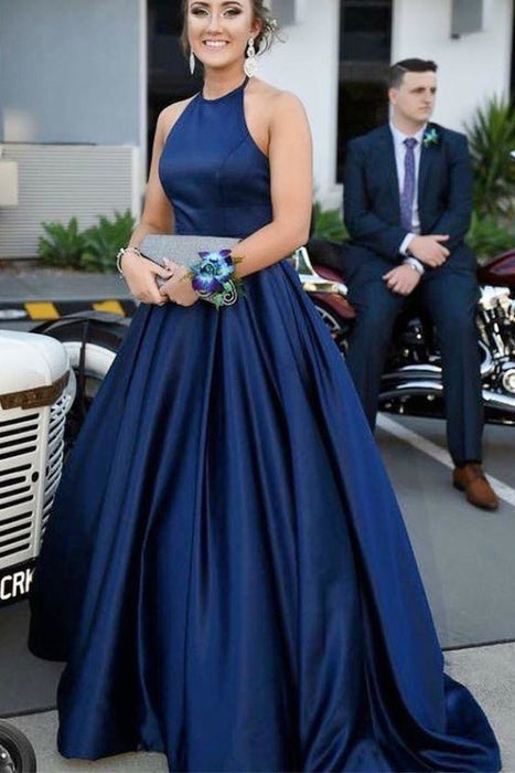 Blue Halter Satin Sleeveless Prom Dress A Line Simple Long Formal Dresses - Prom Dresses