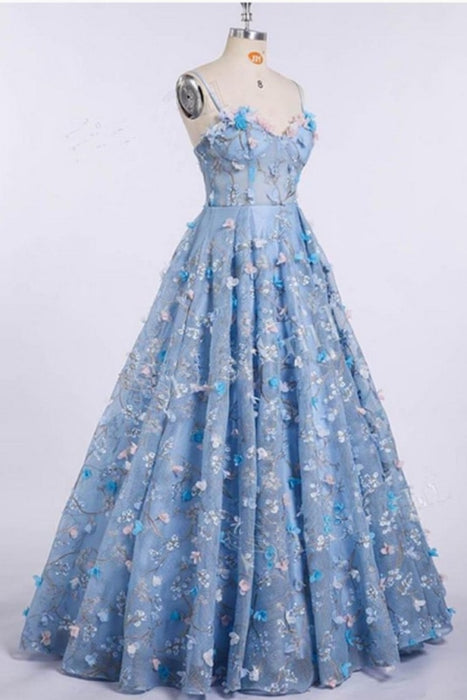 Blue Lace Spaghetti Strap 3D Flowers Applique Prom Dress Ball Gowns - Prom Dresses