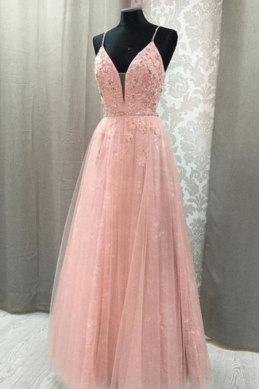Blush V Neck Dress Rhinestone Long Prom Dresses with Appliques - Prom Dresses