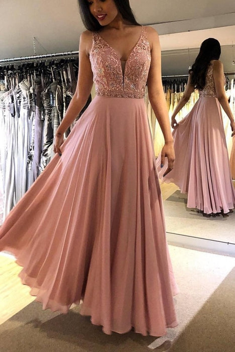 Blush V Neck Sleeveless Floor Length Prom Dresses Sparkly Chiffon Long Formal Dress - Prom Dresses