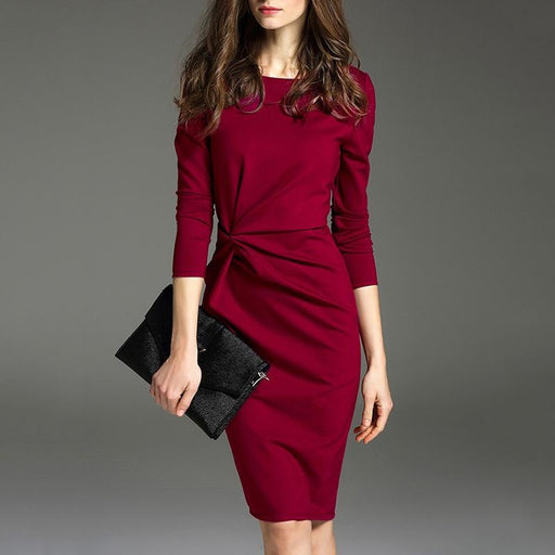 Boat Neck Plain Bodycon Dresses - Red / S