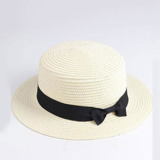 Boater Casual Classic Bowknot Flat Straw Hats | Bridelily - white / Adult size - straw hats