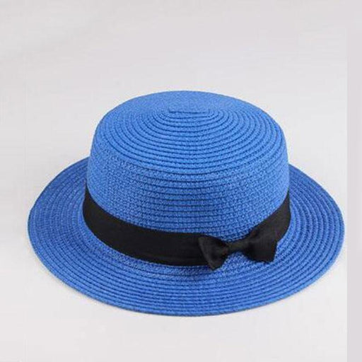Boater Casual Classic Bowknot Flat Straw Hats | Bridelily - straw hats